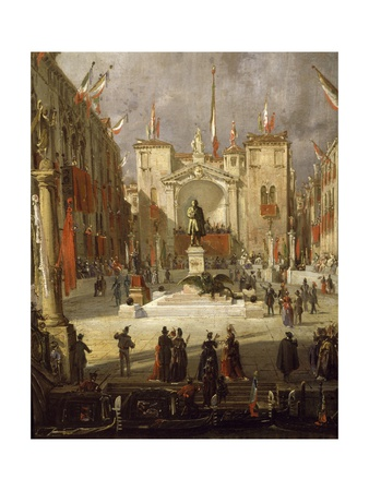 Inauguration of Monument Erected in Venice in Memory of Daniele Manin Giclee Print by Giacomo Favretto