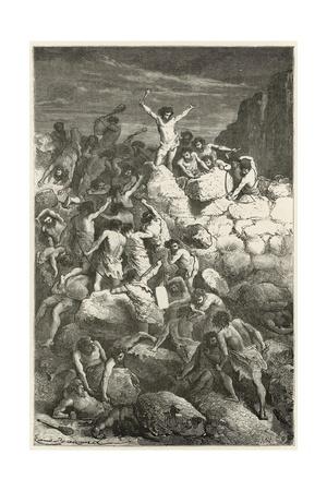 Les Premiers Combats Reguliers Entre Les Hommes a L'Age De La Pierre Giclee Print by Emile Antoine Bayard