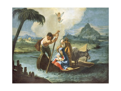 Holy Family Crossing Nile on their Flight into Egypt Giclee Print by Francesco Fontebasso