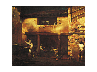 Figures in the Courtyard of a Country House, 1709 Giclee Print by Giuseppe Maria Crespi