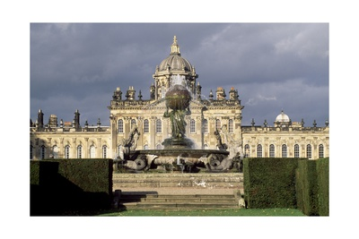 Atlas Fountain with Facade of Castle Howard in the Background Giclee Print by John Thomas