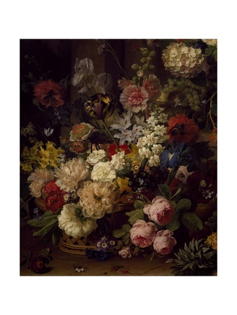 The Basket of Flowers, Detail from Julia's Tomb, 1804 Giclee Print by Jan Frans van Dael