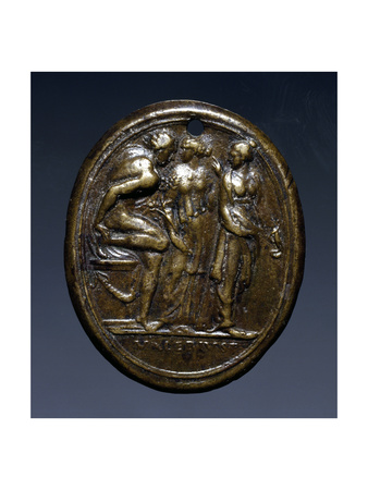 Plaque Depicting a Classical Scene, with the Inscription: Valerius F Nell'Esergo Giclee Print by Valerio Belli