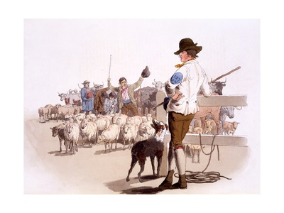 Herdsmen of Sheep and Cattle, from the Costumes of Great Britain, Pub. by Henry Miller, 1805 Giclee Print by William Henry Pyne