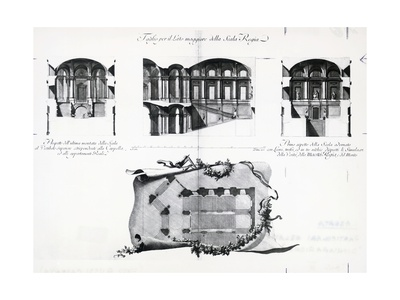 Plan of Honor Grand Staircase at Royal Palace of Caserta Giclee Print by Luigi Vanvitelli