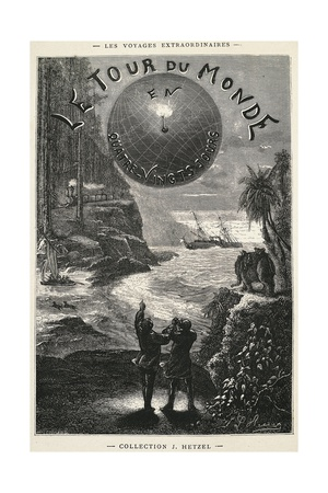 Around World in 80 Days, Title Page for 1873 Edition of Novel Giclee Print by Jules Verne
