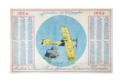 The Latecoere Rabat-Toulouse Postal Plane Flying over the Rock of Gibraltar Giclee Print
