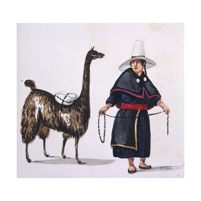Peruvian Mestizo with a Llama from Costumes of South America by Emeric Vidal Giclee Print