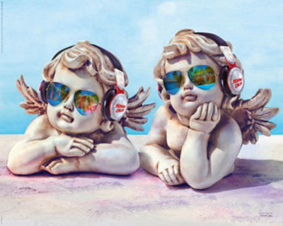 Angel statues chillin outdoors wearing headphones and sunshades spoof poster art