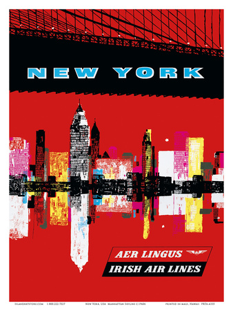 New York, USA Aer Lingus Irish Air Lines - Manhattan Skyline Print