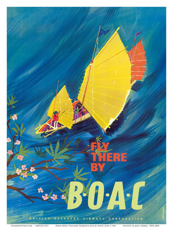 The Orient - Fly There By BOAC - Hong Kong Thailand Cambodia Asia Prints by David Judd