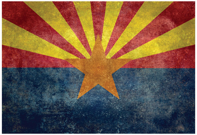 Arizona State Flag - With Distressed Treatment Prints