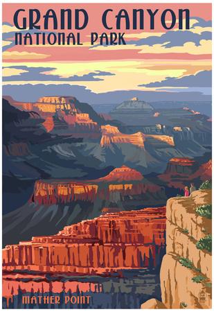 Grand Canyon National Park - Mather Point Posters av  Lantern Press