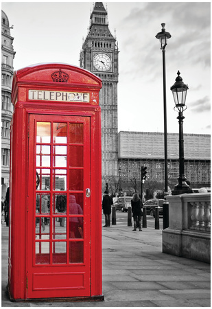A Traditional Red Phone Booth In London With The Big Ben In A Black And White Background Prints