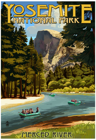 Merced River Rafting - Yosemite National Park, California Posters