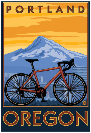 Portland, Oregon, Mountain Bike Scene Posters