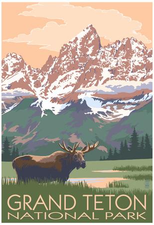 Grand Teton National Park - Moose and Mountains Planscher av  Lantern Press