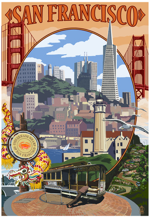San Francisco scenery art print, popular college travel destination