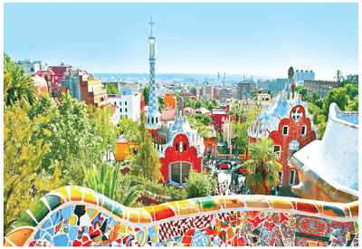 Famous Summer Park Guell, bright blue sky, barcelona, popular college travel destination