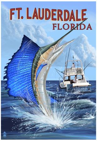Ft. Lauderdale, Florida - Sailfish Scene Poster