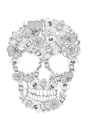Skull From Flowers Poster