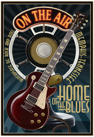 Memphis, Tennessee - Guitar and Microphone - Blue Poster
