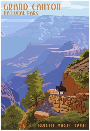 Grand Canyon National Park - Bright Angel Trail Print