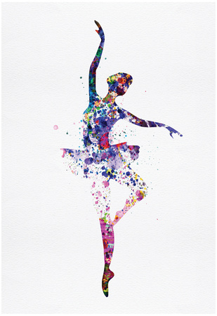 Ballerina Dancing Watercolor 2 Prints by Irina March