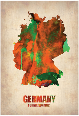 Germany abstract watercolor map artwork