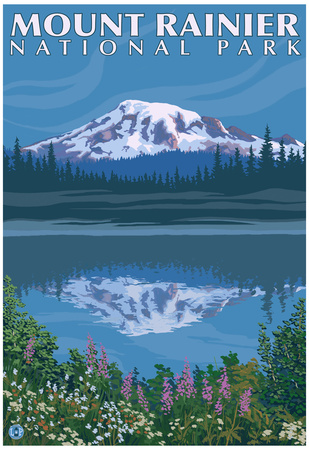 Mount Rainier, Reflection Lake Posters
