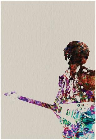 Hendrix With Guitar Watercolor Poster van  NaxArt
