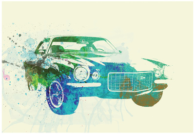 Chevy Camaro Watercolor Prints by  NaxArt