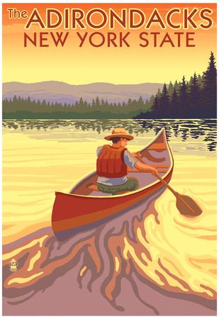 The Adirondacks, New York State - Canoe Scene Posters