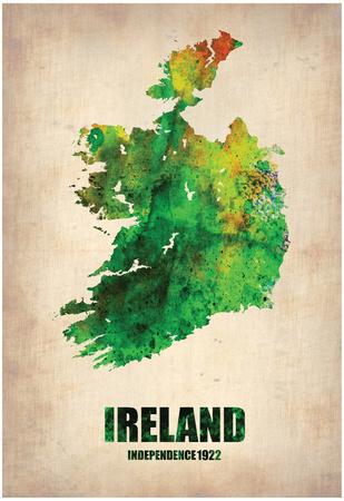 Ireland Watercolor Map Prints by  NaxArt