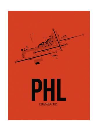PHL Philadelphia Airport Orange Prints by  NaxArt