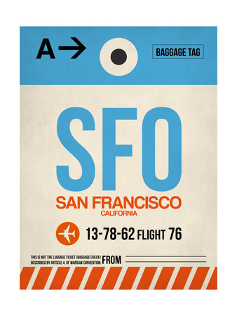 SFO San Francisco Luggage Tag 1 Poster by  NaxArt