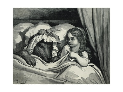 Little Red Riding Hood and Wolf Dressed as Her Grandmother Posters by Gustave Doré