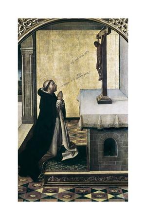 Saint Peter Martyr at Prayer Poster af Pedro Berruguete