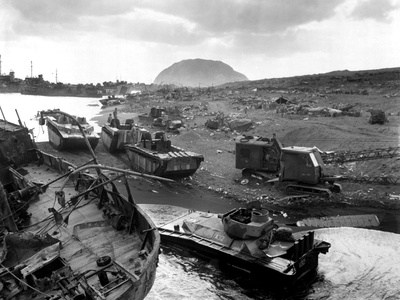 Vehicles of War Knocked Out on the Black Sands of the Volcanic Island of Iwo Jima Photo