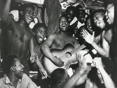 African American Sailors Aboard the U.S.S. Ticonderoga Celebrate the News of Japan's Surrender Photo