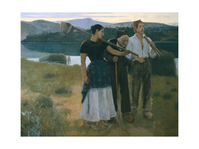 Returning from the Threshing Floor Print by Joan Llimona y Bruguera