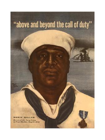 World War 2 Poster with a Portrait of Doris 'Dorie' Miller Poster