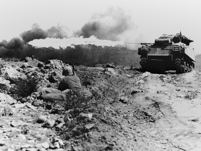 Marine Flame-Throwing Tank and Marine Snipers Photo