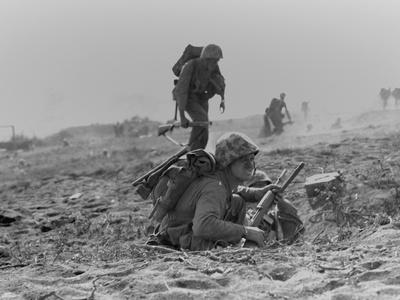 Marines Advancing to Inland Iwo Jima Photo
