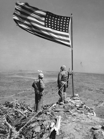 Stars and Stripes Wave over the Summit of Mt Photo