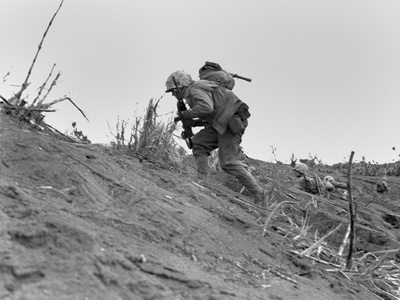 Marines Moving Near Iwo Jima's Airport on Feb. 22, 1945 Photo