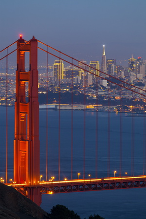 The Golden Gate Bridge and San Francisco Skyline at Night Photographic Print by  Miles