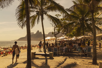 Beach and Cafe, Rio De Janeiro, Brazil, South America Photographic Print by  Angelo