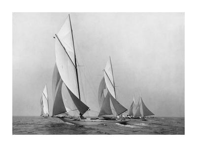 Sailboats Sailing Downwind, CA. 1900-1920 Poster by Edwin Levick