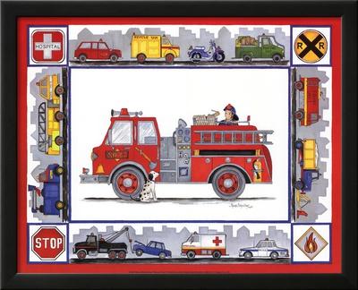 Rescue Trucks Poster by Marnie Bishop Elmer